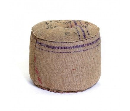 burlap floor pouf! - need to diy this with coffee bean sacks.
