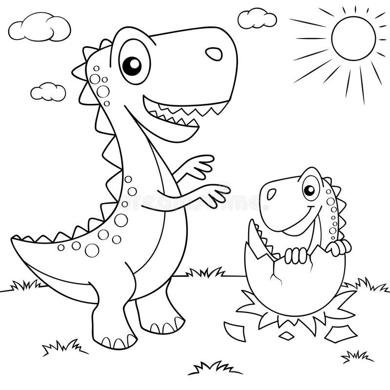 Funny Cartoon Dinosaur And His Nest With Little Dino Black And