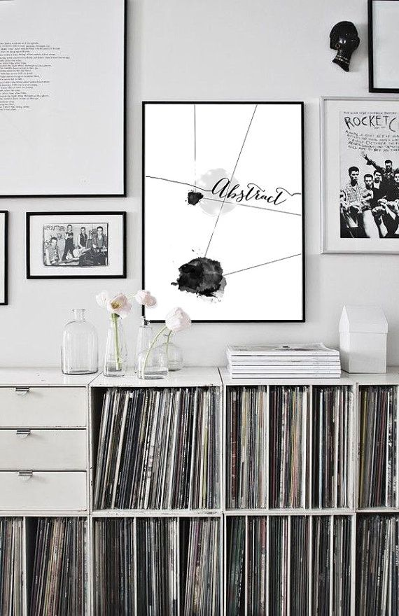 Abstract watercolor black and white print 50x70 by PrintablePixel