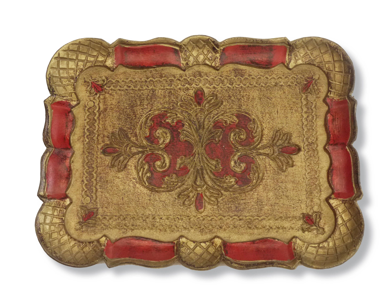 Ancien Plateau Florentin Rectangulaire 1960's . Vintage Italian Florentine Serving Tray . Shabby Haind Painted Gold and Red Cocktail Tray de la boutique LaMachineaBrocantes sur Etsy