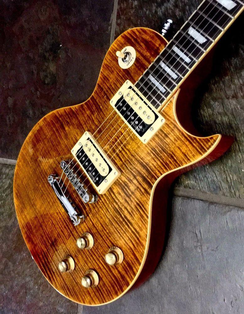 New Vintage V100afd Paradise Flamed Slash Lp Electric Guitar Case Available Electric Guitar Vintage Electric Guitars Vintage Guitar Amps