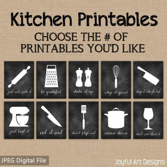 Kitchen Decor Printable Signs Set Of Chalkboard Kitchen Utensil Art