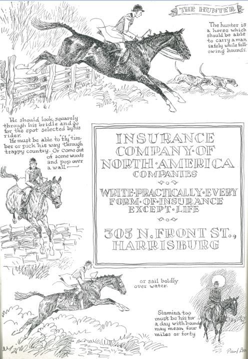 The Hunter Illustrated By Paul Brown Pennsylvania National Horse Show Program 1955 Brown Horse Art Horse Illustration Horse Drawings