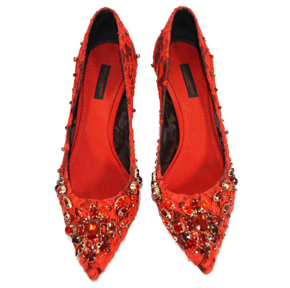 GABBANA RED LACE LEATHER CRYSTAL HEELS