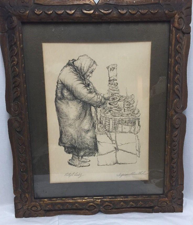 Seymour Rosenthal Pencil Signed Lithograph Pretzel Lady Vintage Framed 20 X24