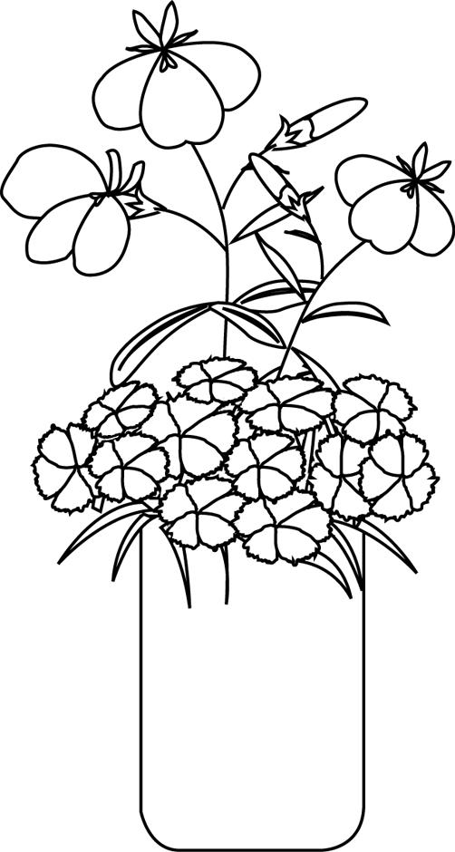 Un bouquet de fleurs colorier coloriages pinterest - Dessiner un vase ...