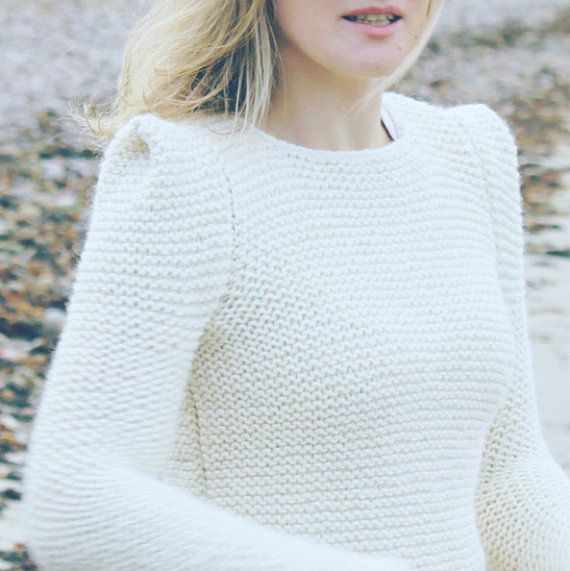 Hand knit sweater off white creamy sharp shoulder modern knitwear ... e22cf99009be