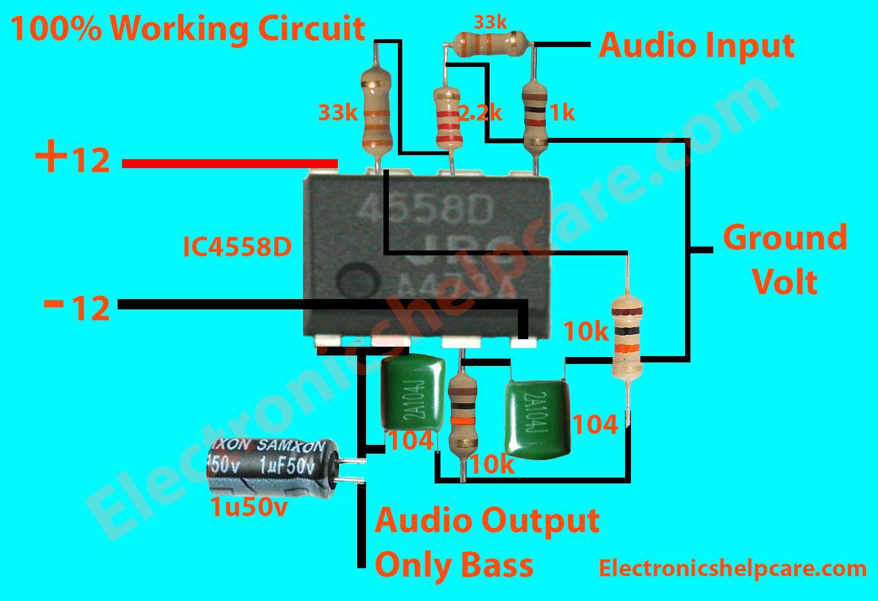 How To Make Bass Circuit Diagram Low Pass Filter Circuit Diagram 100 Working Electronics Electronic Circuit Projects Circuit Diagram Subwoofer Amplifier