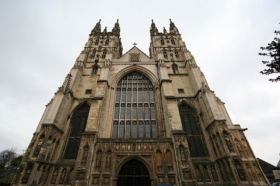 Canterbury Cathedral With Twin Gothic Towers And The Great West