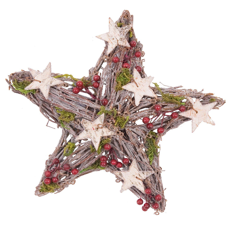 Hübscher Weihnachtsstern von Clayre & Eef aus Holz, mit Sternen und Glitzer beklebt. Eine wunderschöne Dekoration für die Adventszeit.