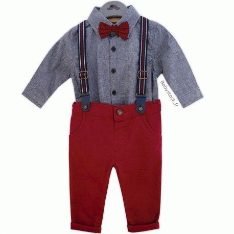 182444652e7d3 Ensemble bébé garçon 4 pièces body chemise chambray + pantalon bordeaux +  nœud papillon + bretelles