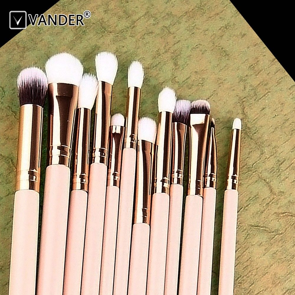 Vander 12pcs Rose Gold Wood Handle Kabuki Makeup Brush Set