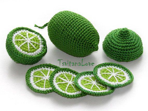 Häkeln Obst - Limette / Zitrone / Orange Scheibe (6 Stück +) Küche Spiel-Set - Spielküche - Tee-Party-Spielzeug-Set - Spielzeug Obst - Spielen Essen Waldorf Geschenk