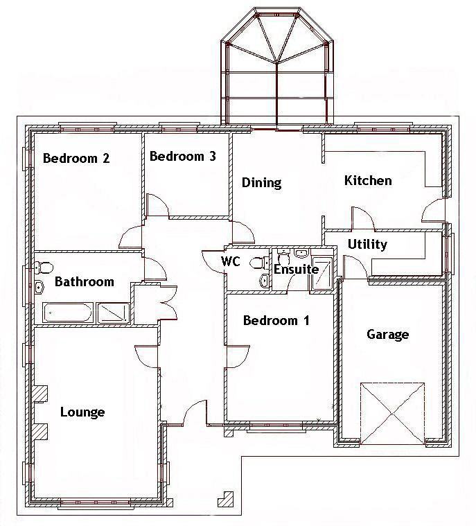Bedroom Bungalow Ground Floor Plan Three House Plans