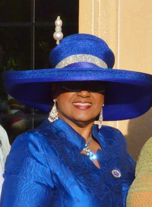 71df08df5a6 Blue wide brim church hat