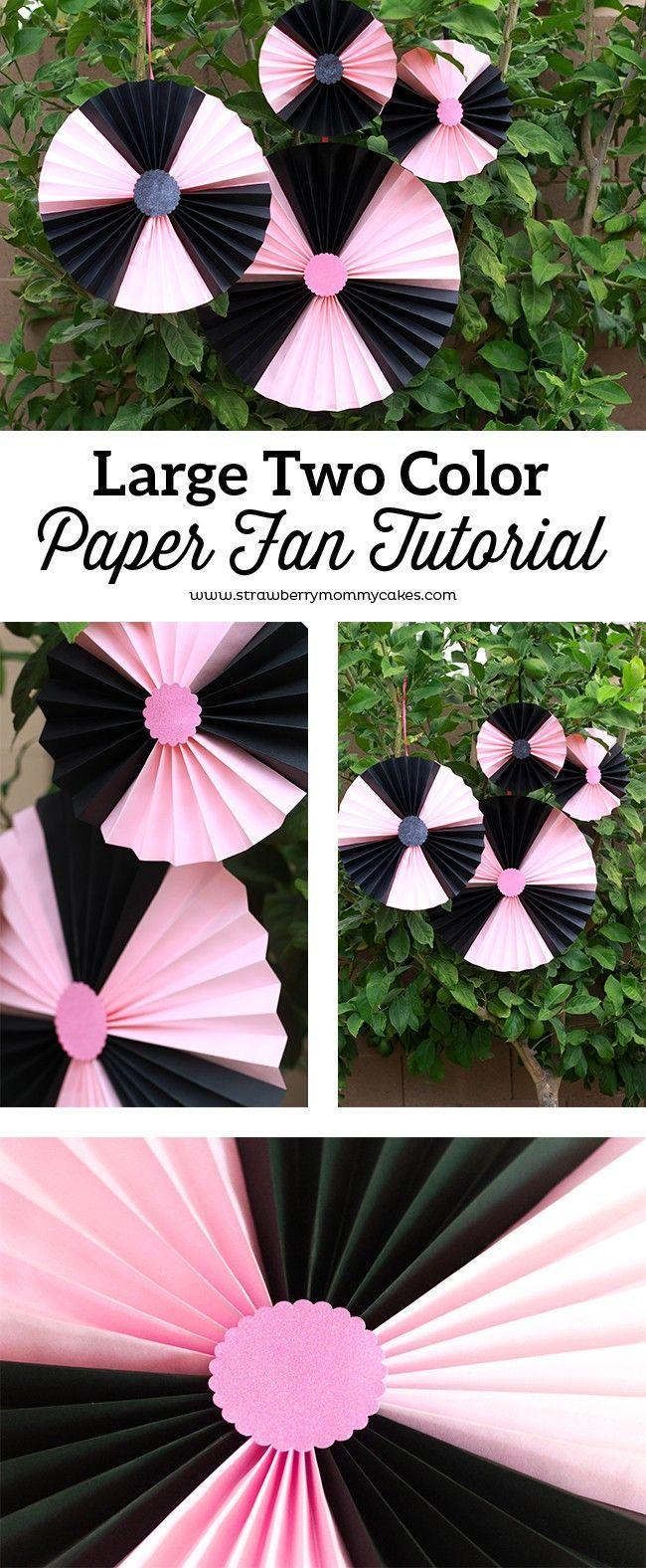 Large two color paper fan tutorial tutorials