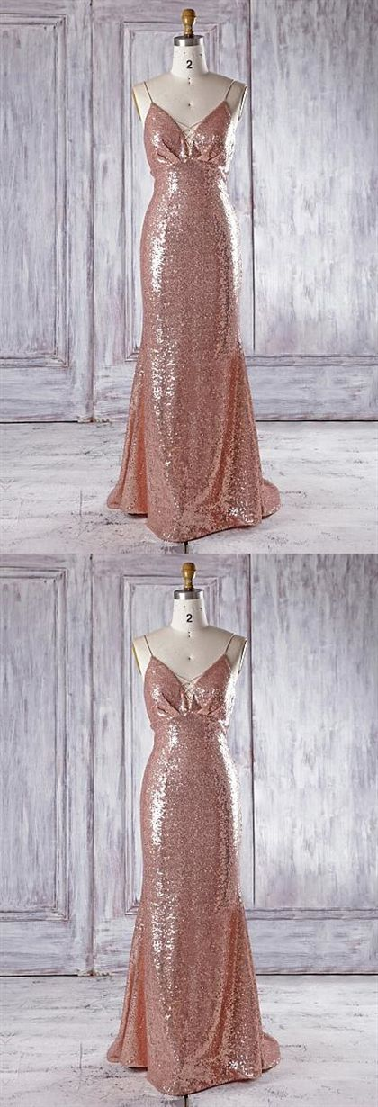 f5febbeb86 Sexy Rose Gold V Neck Spaghetti Strap Sequin Bridesmaid Dresses Prom Dresses   rose  GOLD  prom  bridesmaid  neck  wedding  dresses  bridesmaiddresses