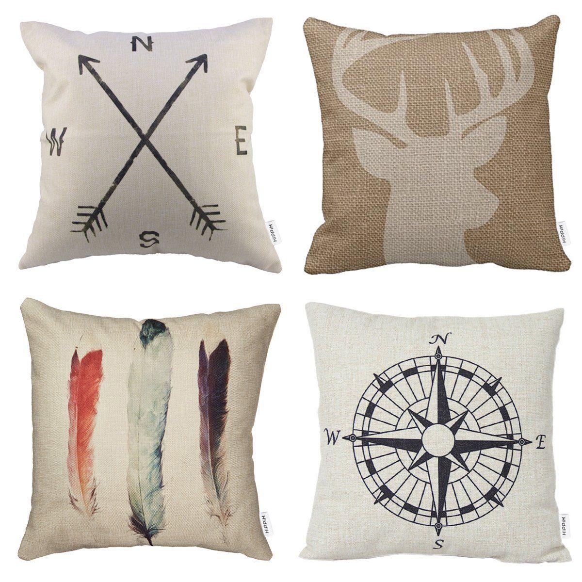 packs hippih cotton linen sofa home decor design throw pillow case