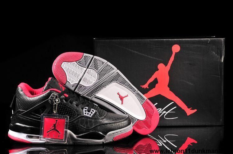 2013 Jordan 4 Retro Fish Pattern Black Red Shoes