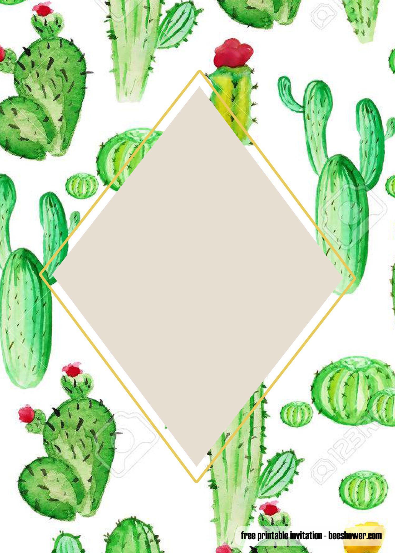 Nice Free Printable Cactus Baby Shower Invitations