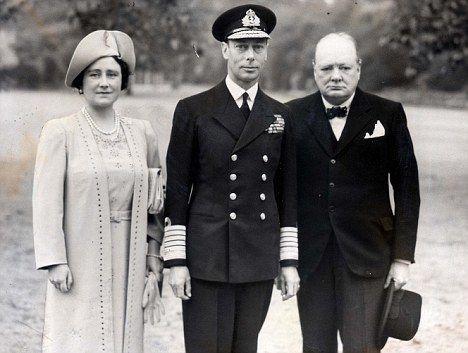 Queen Elizabeth, King George VI and Winston Churchill.