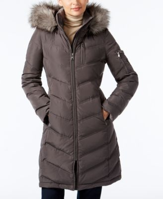 Fur Puffer Faux Down Trim Hooded Klein Calvin Petite qtHzcg