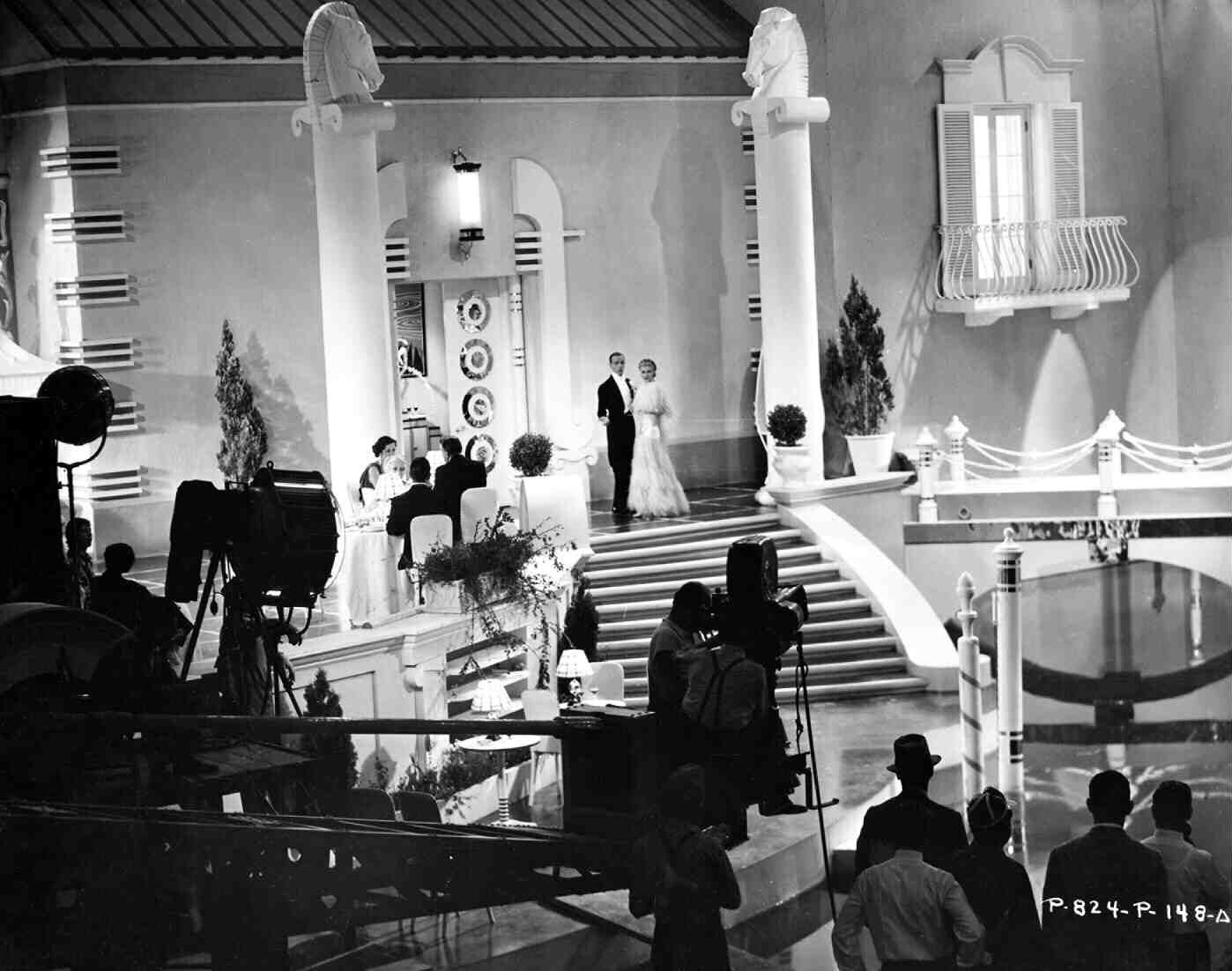 Fred Astaireand Ginger Rogers filming a scene from Top Hat