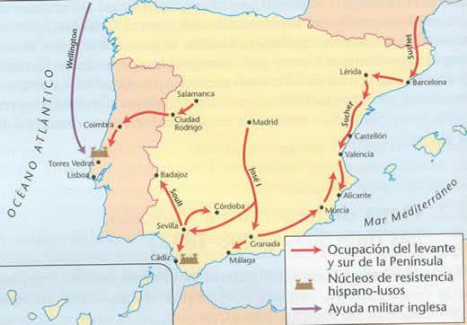 Mapa De La Peninsula.Mapa De La Invasion Napoleonica Y Resistencia En Portugal