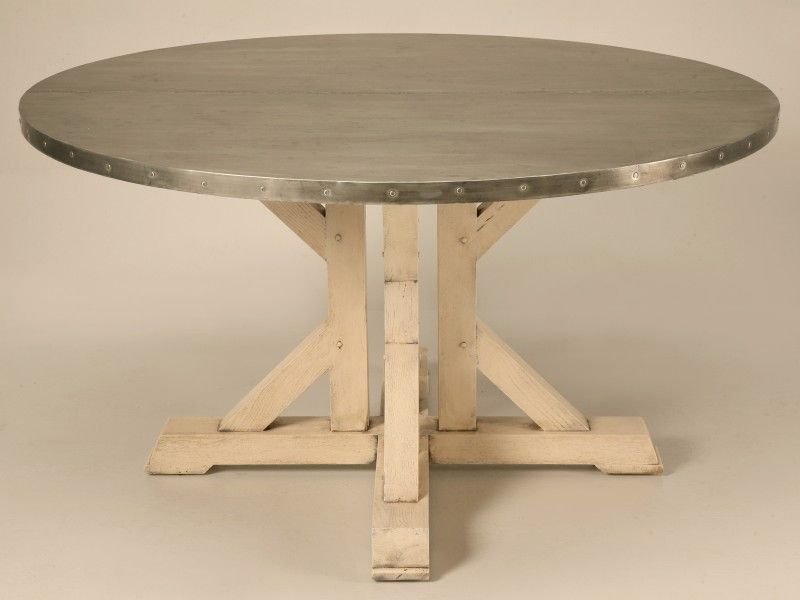 Custom French 55 Inch Round Zinc Topped Dining Table With Painted Base