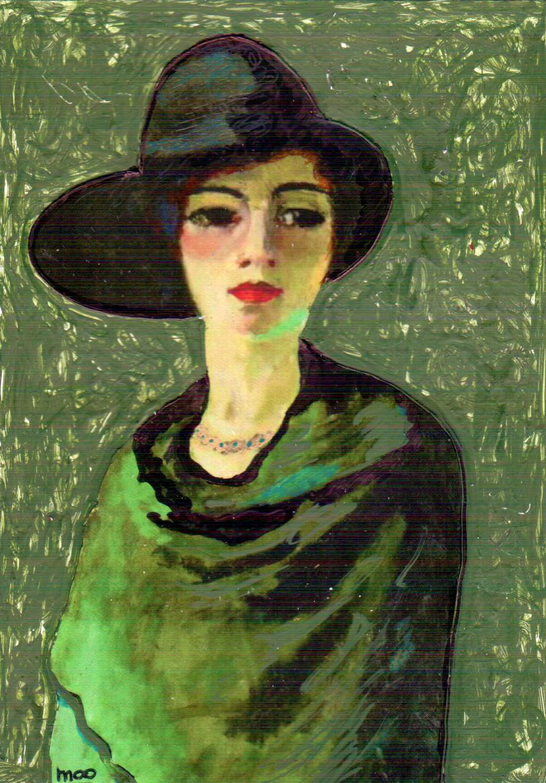 """LADY WEARING GREEN SHAW AND HAT...Artist; Kees van Dongen"