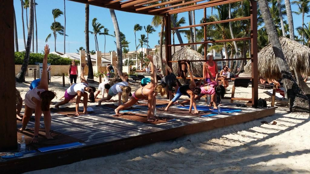 NRG2GO instructor Jennifer Cross teaching yoga at the beautiful Royalton Punta Cana: #nrg2go
