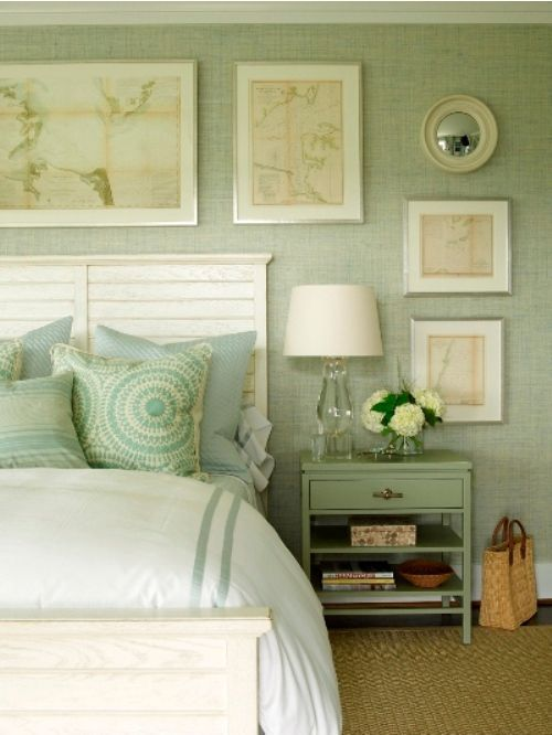 Seafoam Grasscloth Wallpaper - The artwork is a great way to ...