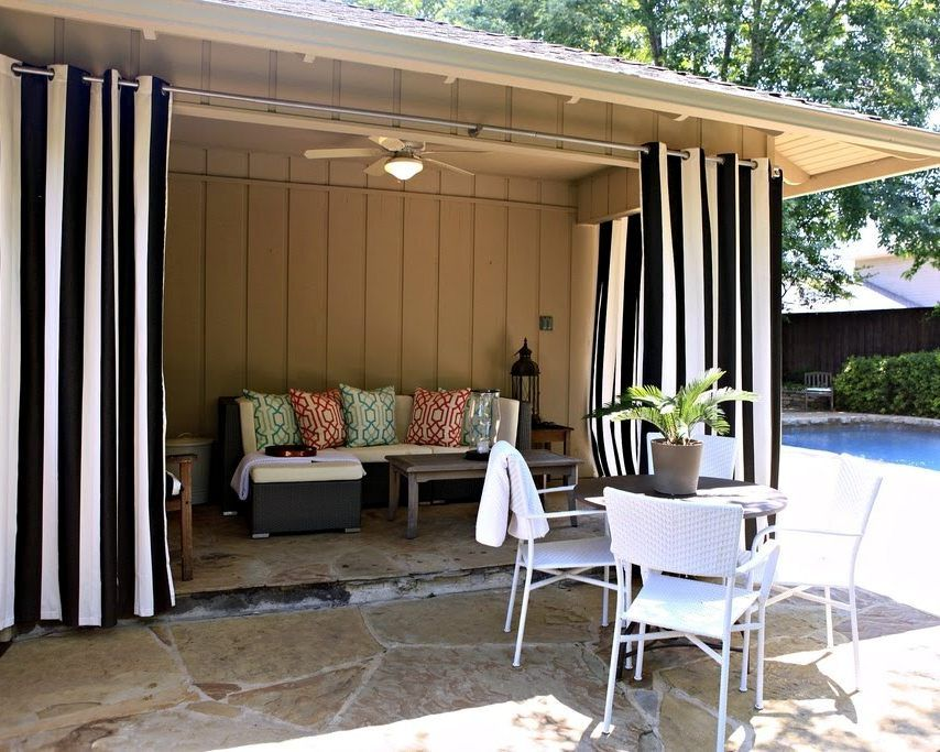 Black And White Vertical Striped Patio Curtains