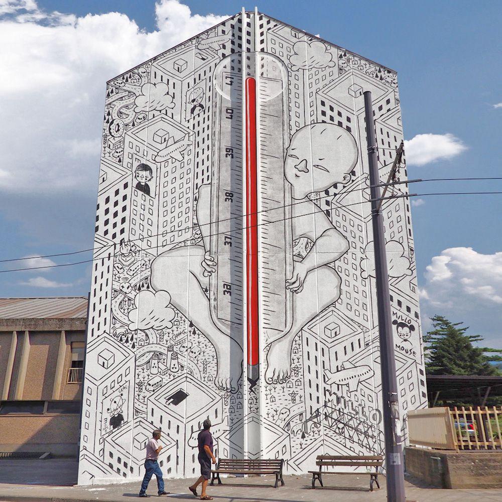 Nouvelles Peintures murales dans les Rues d'Italie par Millo (4)