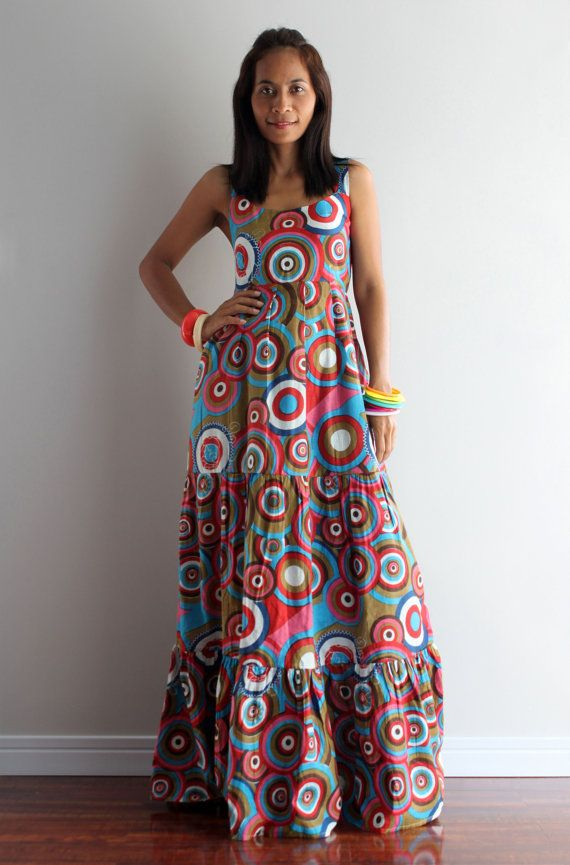 Summer Bohemian Sleeveless Graphic Print Long Maxi Dress : Hippie Chickie  Collection