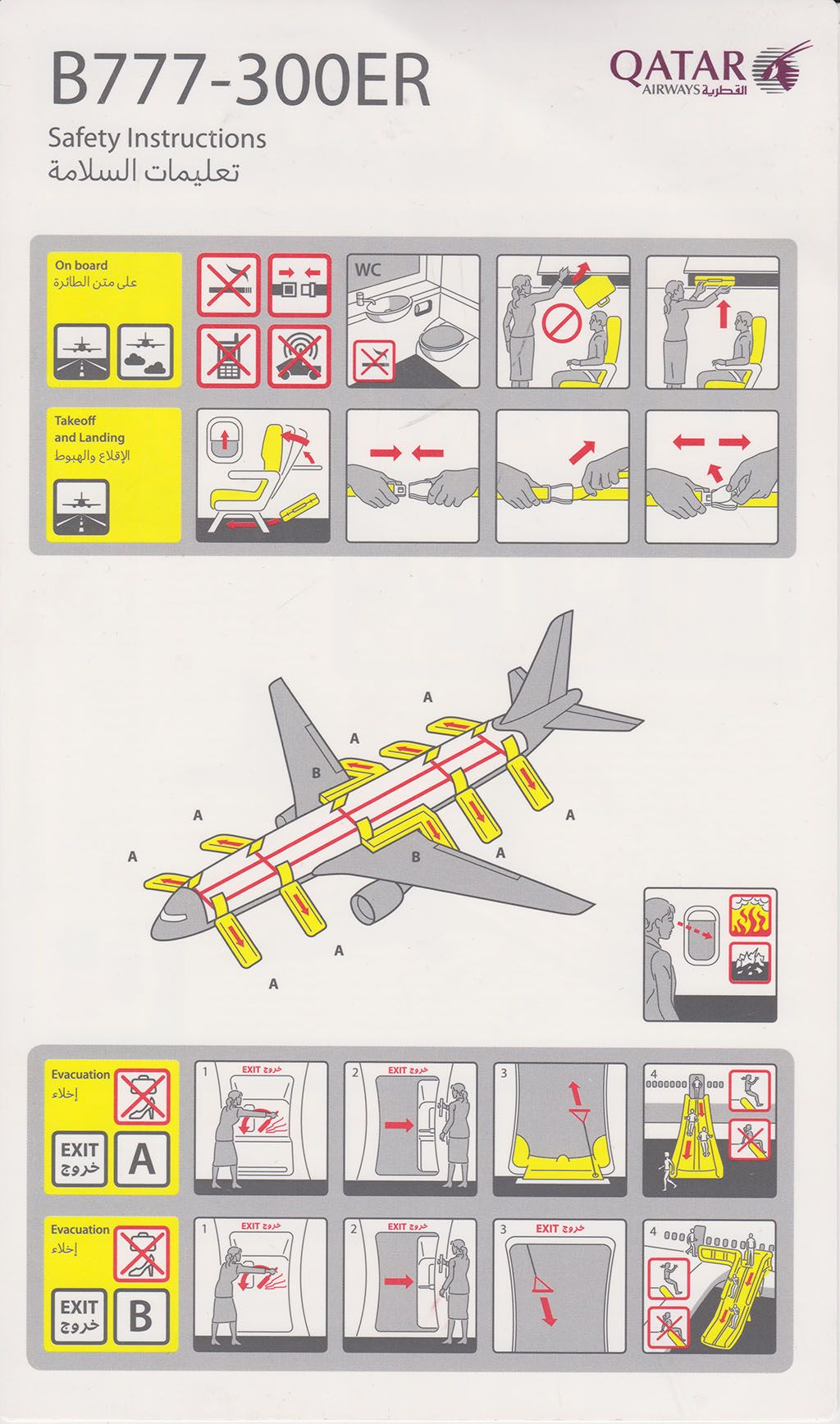 Safety Card Qatar Airways B777-300 (1) front | Safety Card ...