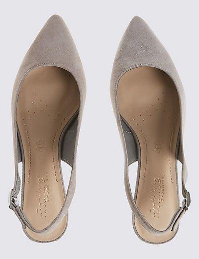 Wide Fit Suede Block Heel Court Shoes