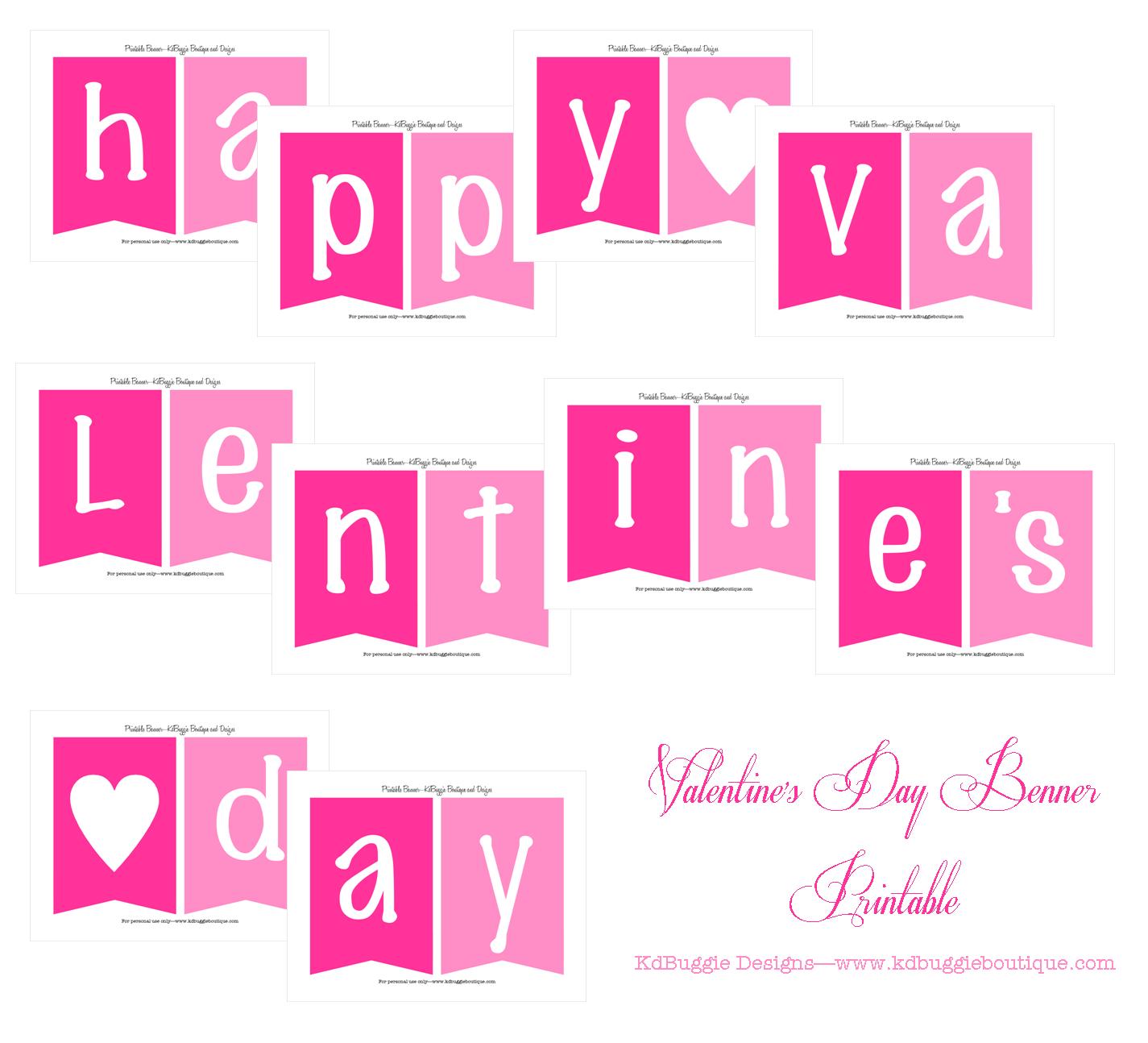 Kdbuggie Boutique Free Valentine S Day Banner Printable Valentine