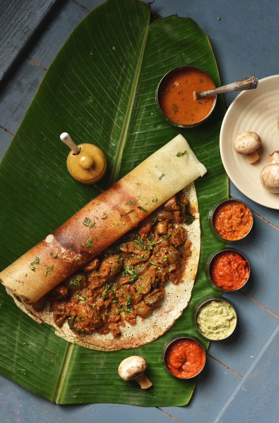 Mushroom Ghee Roast Dosa Food For The Body Is Not Enough There Must Be Food Indian Food Recipes Vegetarian Rustic Food Photography Indian Food Photography