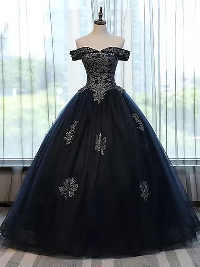 23fa1dbb193 Chic Wedding Dresses Ball Gown Off-the-shoulder Dark Navy Tulle Bridal Gown  JKS187