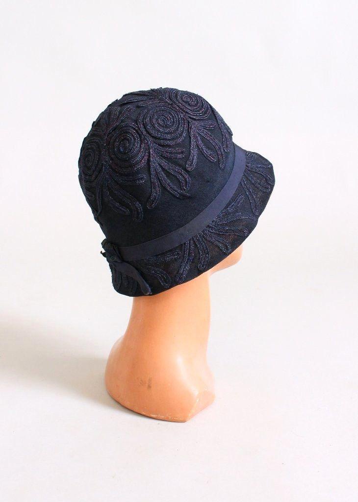 Vintage 1920s Navy Shimmery Soutache Cloche Hat