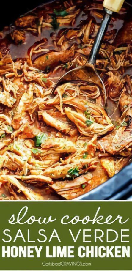 Salsa Verde Honey Lime Chicken #Huhn #Slowcooker - #Chicken #Honey #Huhn #Lime #Salsa #SlowCooker #Verde #honeylimechicken