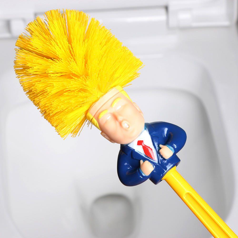 Creative Trump Toilet Brush Toilet Brush Plastic Creative Toilet Brush Set Yellow