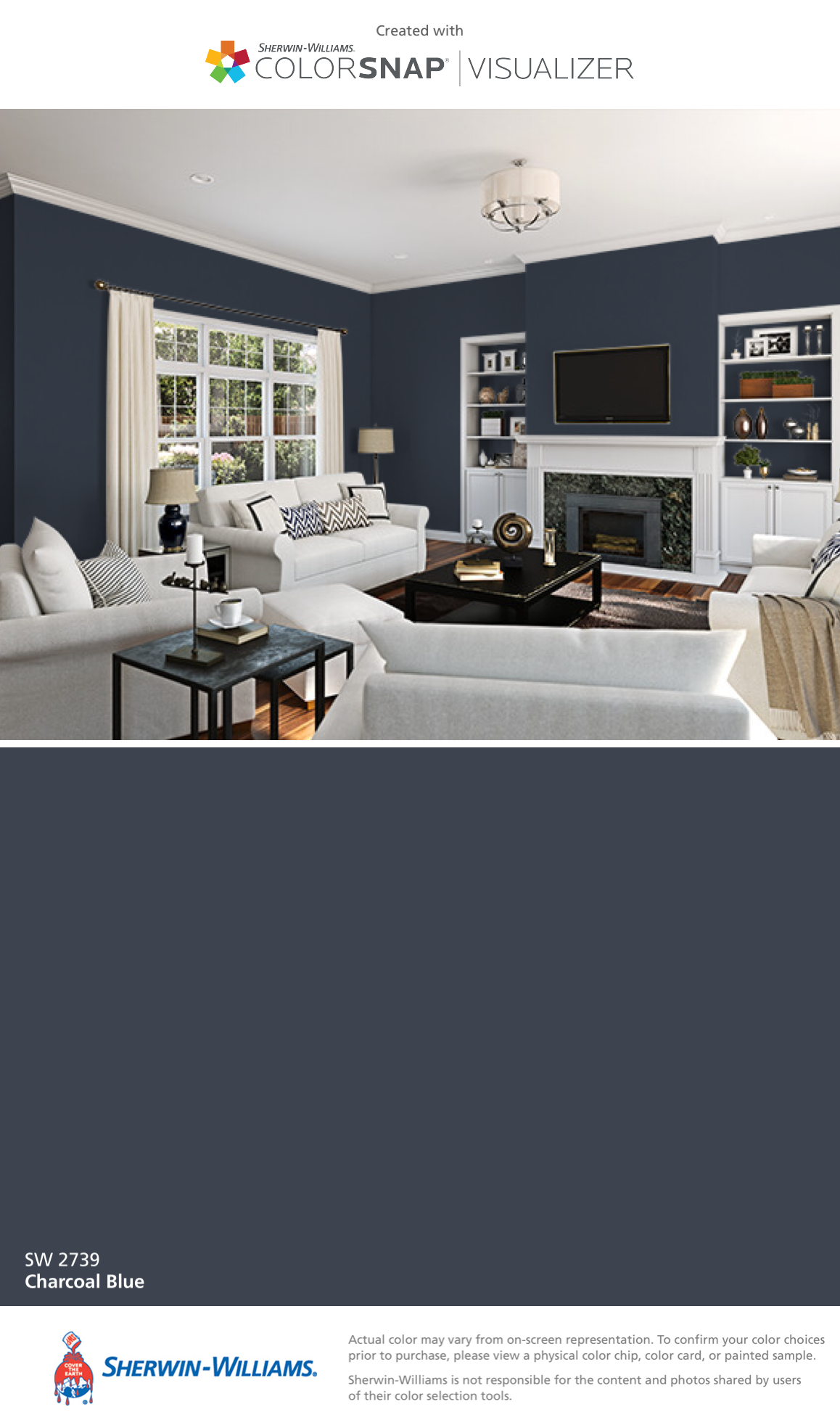 I found this color with ColorSnap® Visualizer for iPhone by  Sherwin-Williams: Charcoal Blue (SW 2739).