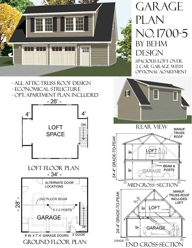 34 x 28 34x28 28x34 28 x 34 2 car garage with loft garage for 2 story house plans with dormers