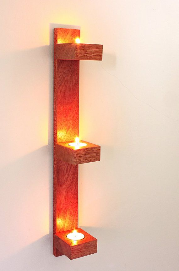 Simple Modern Wall Mahogany Or Oak Candle Holder Wooden