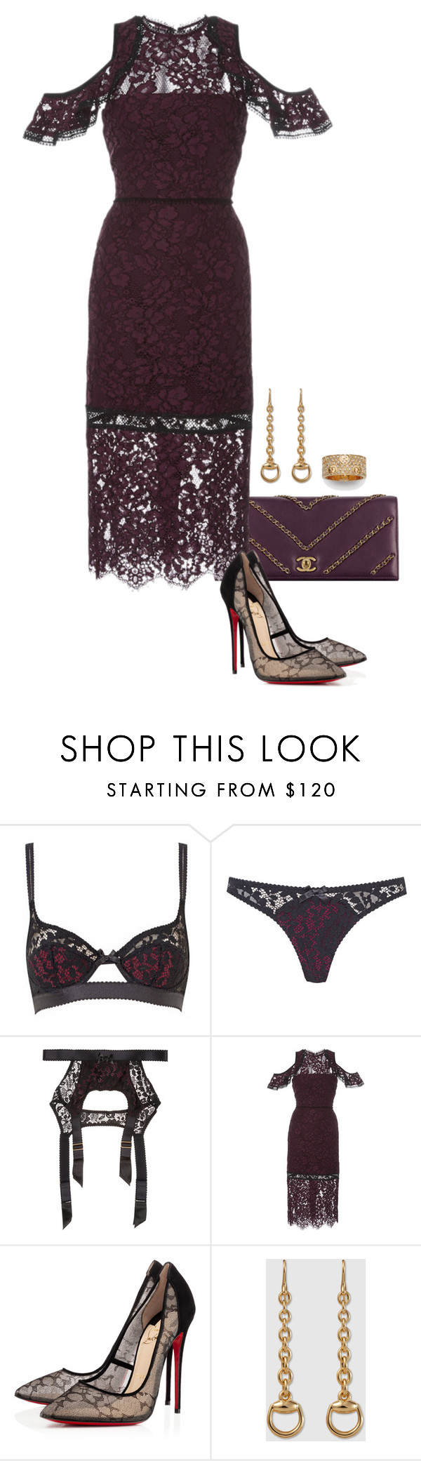 """""""Evie."""" by foreverforbiddenromancefashion ❤ liked on Polyvore featuring Agent Provocateur, Chanel, Alexis, Christian Louboutin and Gucci"""
