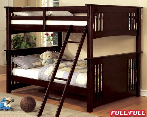 New Mission Dark Walnut Finish Wood Full Over Full Bunk Bed