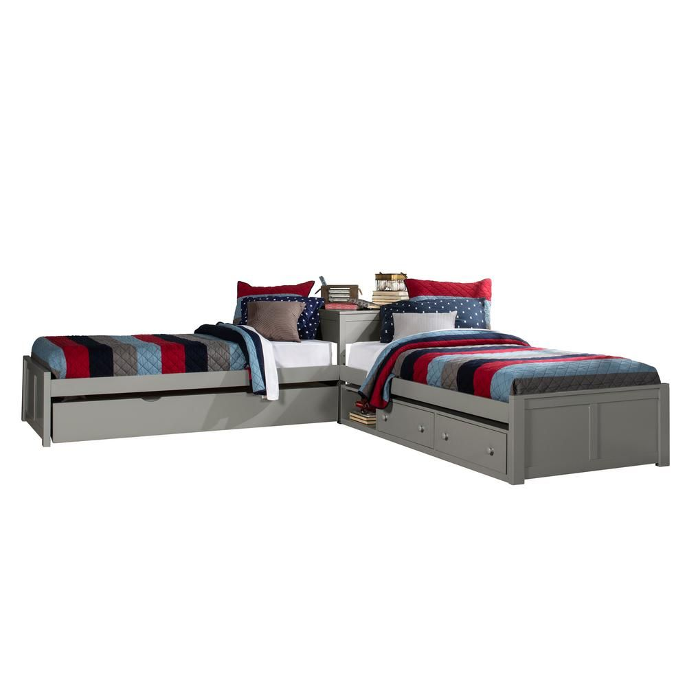 Hillsdale Furniture Pulse Gray Twin L Shape Bed With Storage And Trundle Unit 2311pltbsttr The Home Depot L Shape Bed Hillsdale Furniture L Shaped Twin Beds