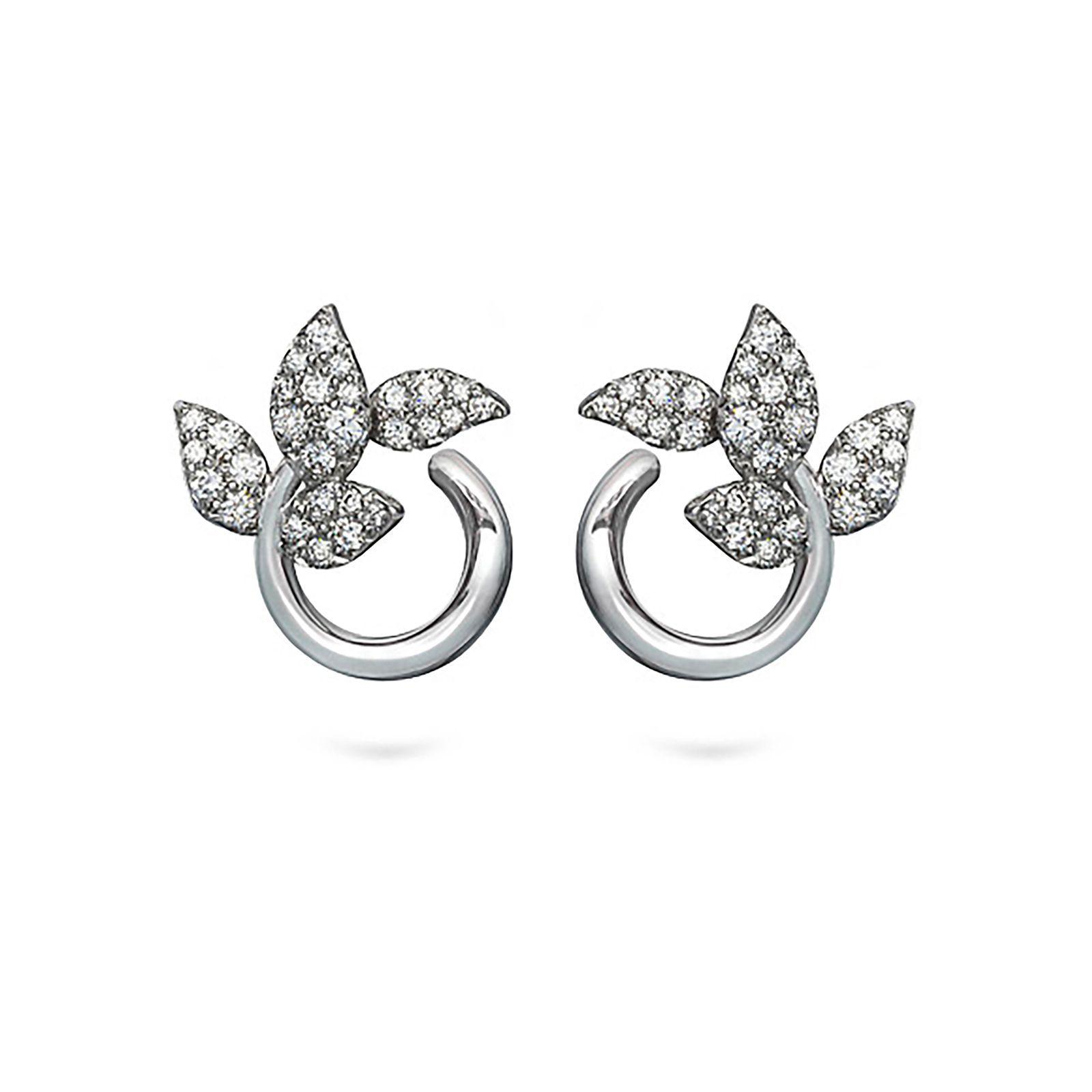 Diana Vincent Leaf Diamond Earrings